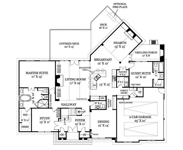 Craftsman Floor Plan - Main Floor Plan Plan #119-327