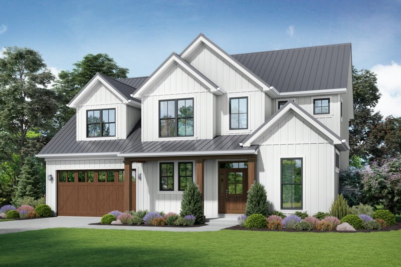 Contemporary Style House Plan - 4 Beds 2.5 Baths 2618 Sq/Ft Plan #48-986 Exterior - Front Elevation