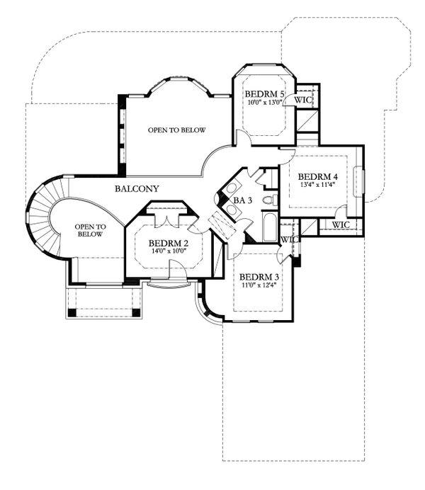 Mediterranean Floor Plan - Upper Floor Plan Plan #80-184