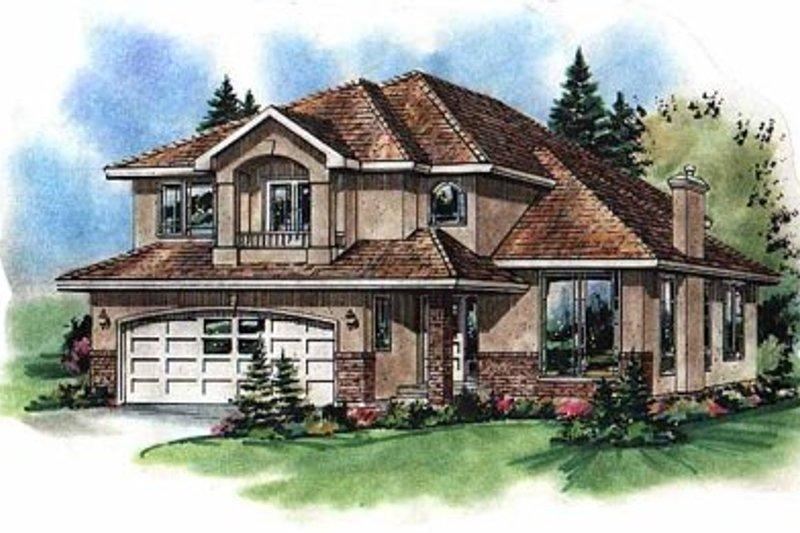 House Blueprint - European Exterior - Front Elevation Plan #18-267