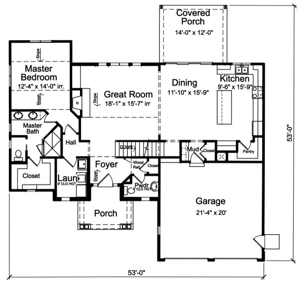 Country Floor Plan - Main Floor Plan Plan #46-900