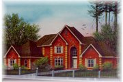 European Style House Plan - 4 Beds 4.5 Baths 3889 Sq/Ft Plan #15-228 Exterior - Front Elevation