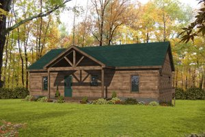 Cabin Exterior - Front Elevation Plan #932-57