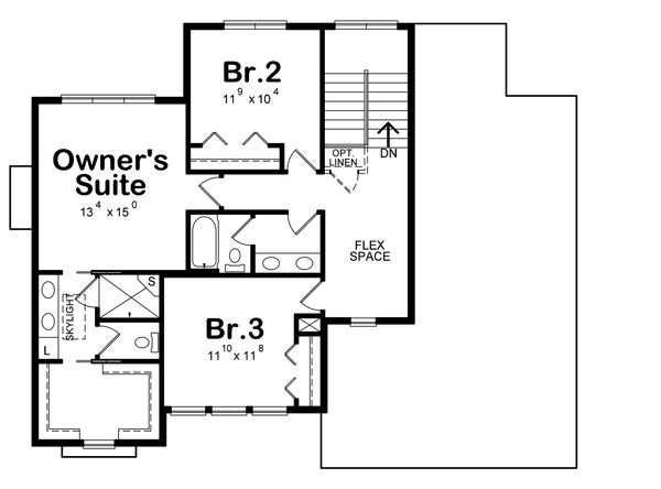 Traditional Floor Plan - Upper Floor Plan Plan #20-2278