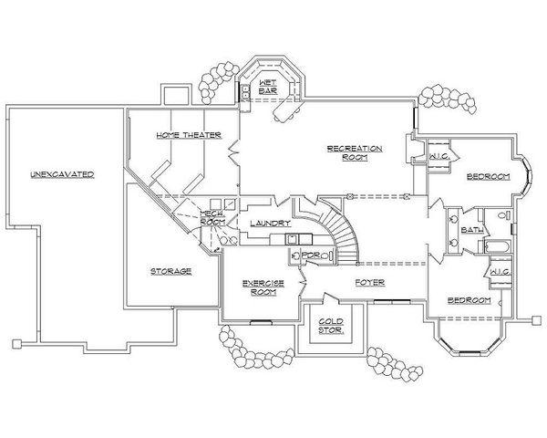 House Plan Design - European Floor Plan - Lower Floor Plan #5-415