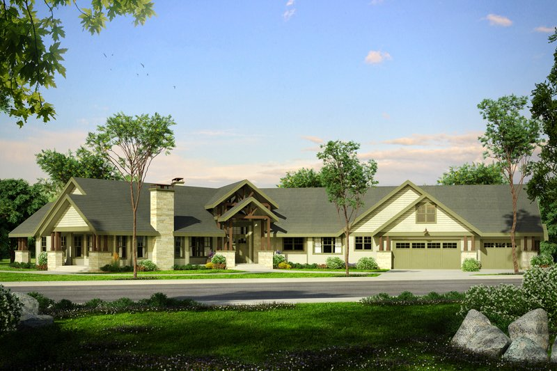 Craftsman Exterior - Front Elevation Plan #124-1014