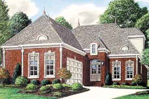 European Exterior - Front Elevation Plan #34-195