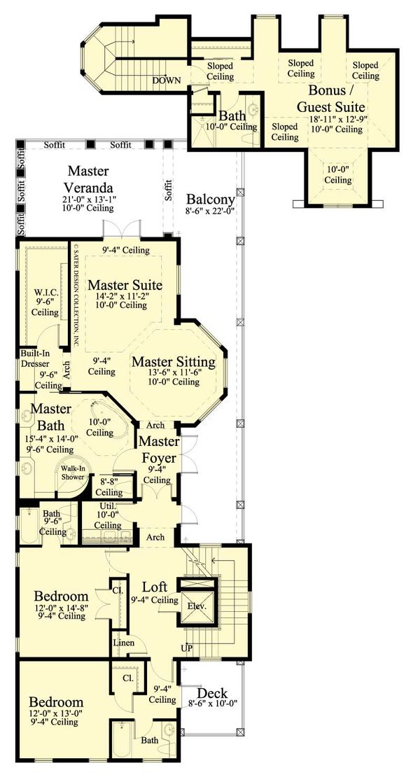 Southern Floor Plan - Upper Floor Plan Plan #930-407