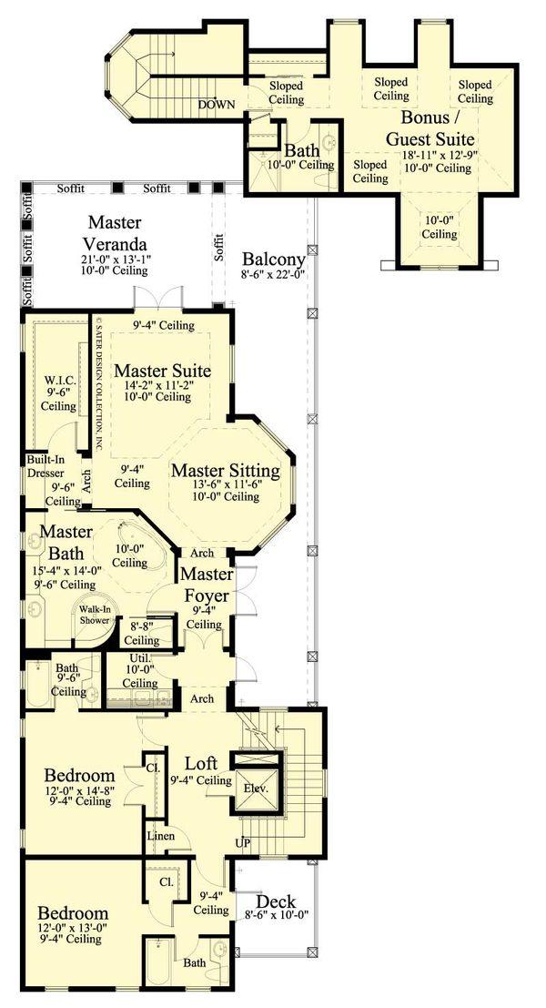 Southern Floor Plan - Upper Floor Plan Plan #930-407