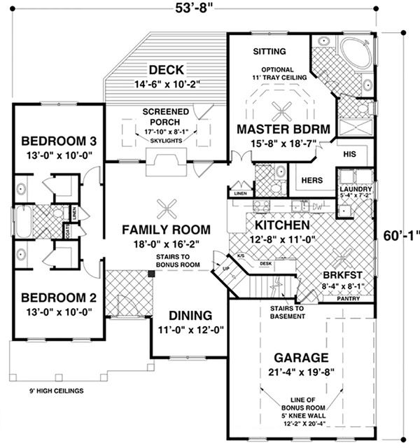 Craftsman Floor Plan - Main Floor Plan Plan #56-633