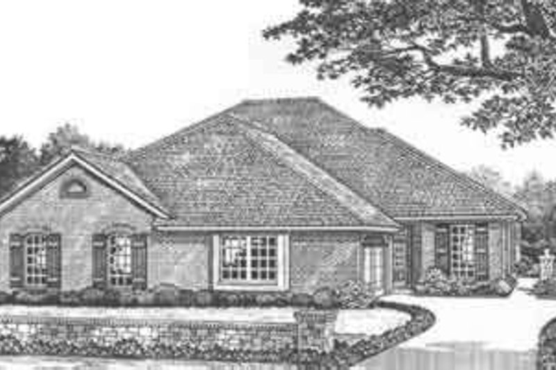 European Style House Plan - 3 Beds 2 Baths 3978 Sq/Ft Plan #310-471 Exterior - Front Elevation