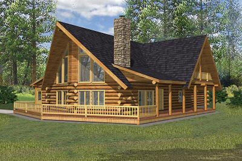 Dream House Plan - Log Exterior - Front Elevation Plan #117-503
