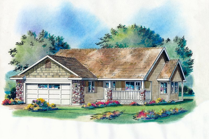 Craftsman Style House Plan - 3 Beds 2 Baths 1236 Sq/Ft Plan #18-1025 Exterior - Front Elevation