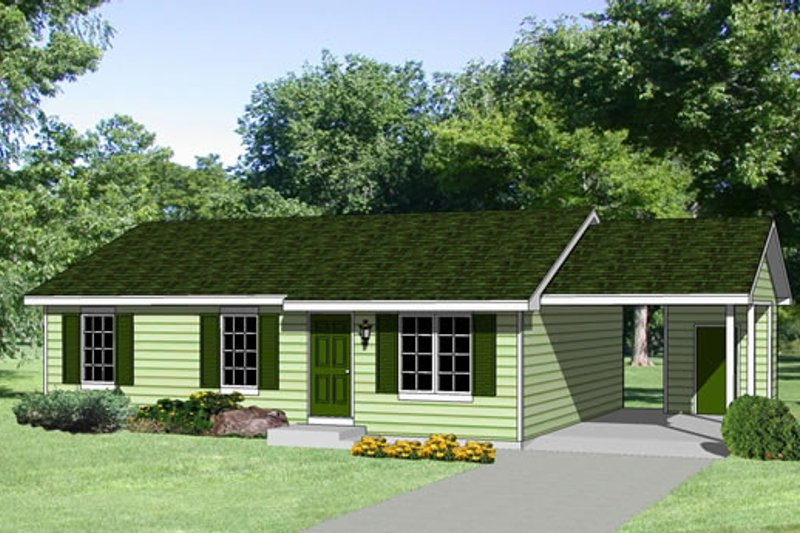 Ranch Style House Plan - 3 Beds 2 Baths 1108 Sq/Ft Plan #116-167 Exterior - Front Elevation