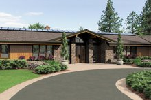 House Plan Design - Ranch style, Craftsman detailed home, front elevation