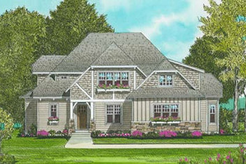 European Exterior - Front Elevation Plan #413-103