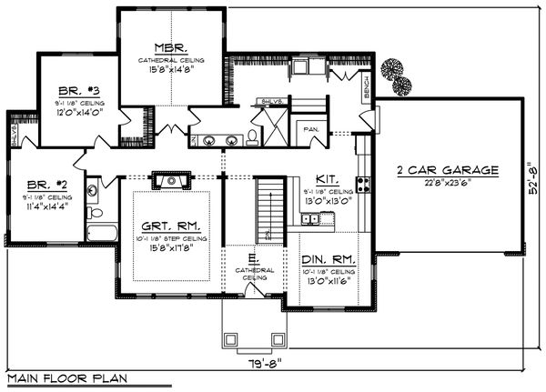 Ranch Floor Plan - Main Floor Plan Plan #70-1214
