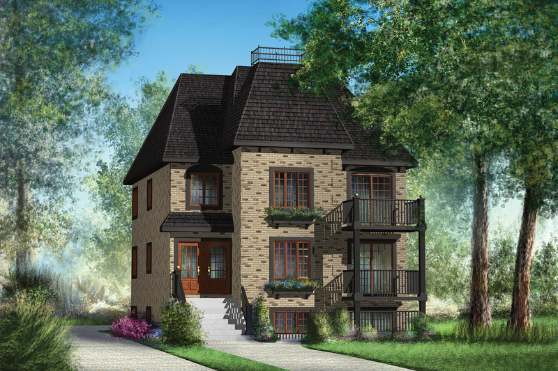 European Style House Plan - 6 Beds 3 Baths 3369 Sq/Ft Plan #25-4355 Exterior - Front Elevation