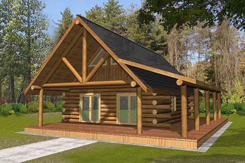 Dream House Plan - Log Exterior - Front Elevation Plan #117-505