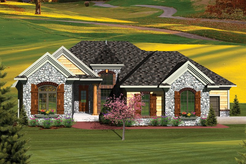 House Plan Design - European Exterior - Front Elevation Plan #70-1056