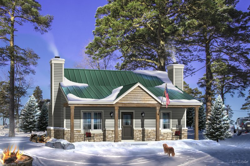 Cabin Style House Plan - 1 Beds 1 Baths 756 Sq/Ft Plan #22-617