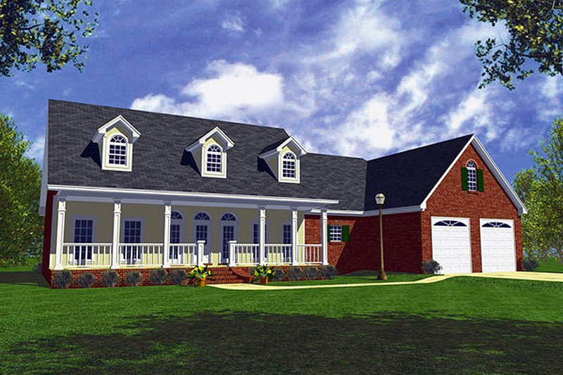 Country Style House Plan - 3 Beds 2.5 Baths 1800 Sq/Ft Plan #21-152 Exterior - Front Elevation