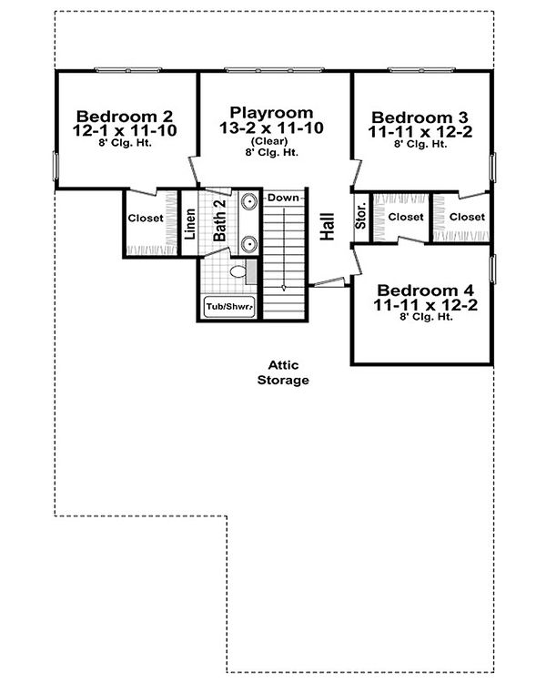 Craftsman Floor Plan - Upper Floor Plan Plan #21-265