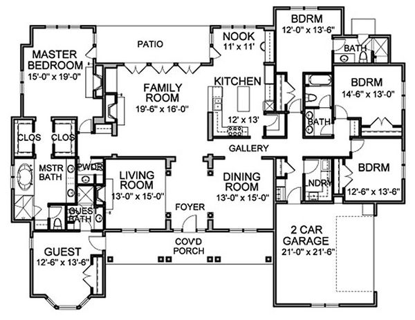 Traditional Floor Plan - Main Floor Plan Plan #490-11