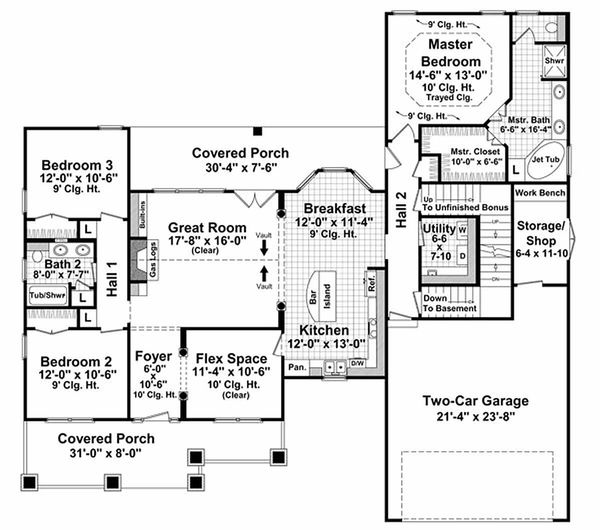 Craftsman Floor Plan - Main Floor Plan Plan #21-303