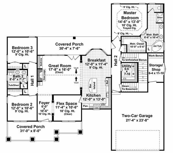 Craftsman Floor Plan - Main Floor Plan #21-303