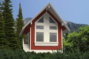 Cabin Style House Plan - 1 Beds 1 Baths 840 Sq/Ft Plan #118-116 Exterior - Front Elevation
