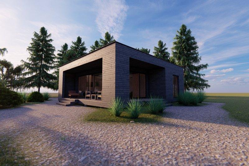 Modern Style House Plan - 2 Beds 1 Baths 545 Sq/Ft Plan #549-35 Exterior - Front Elevation