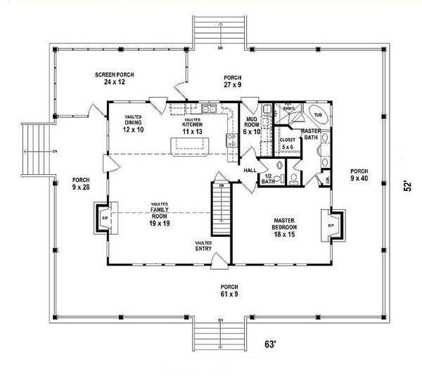 Country Floor Plan - Main Floor Plan #81-13915