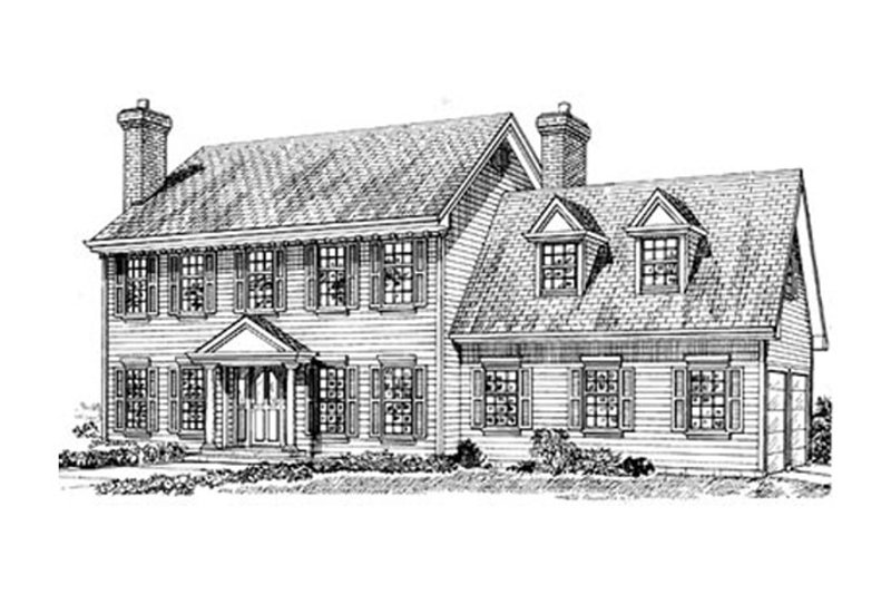 Colonial Style House Plan - 3 Beds 2.5 Baths 2265 Sq/Ft Plan #47-284 Exterior - Front Elevation