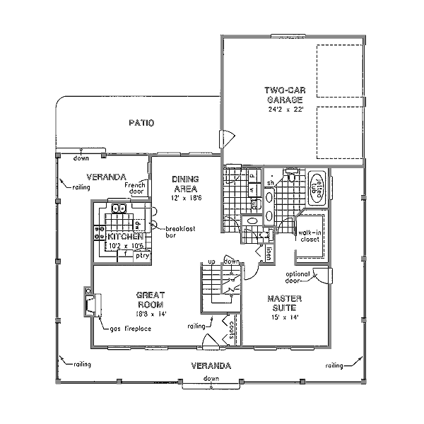 Country Floor Plan - Main Floor Plan Plan #18-4460