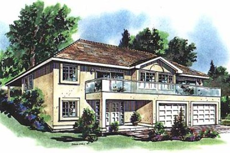 European Style House Plan - 3 Beds 2 Baths 1361 Sq/Ft Plan #18-215 Exterior - Front Elevation