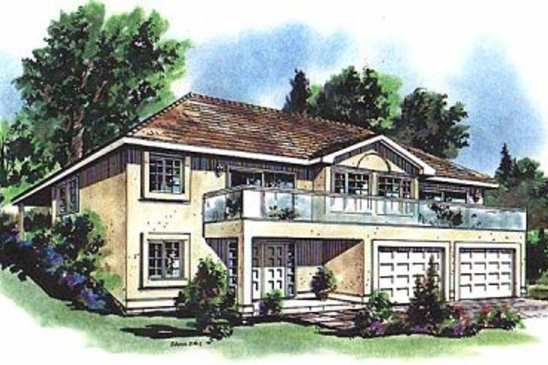 House Blueprint - European Exterior - Front Elevation Plan #18-215