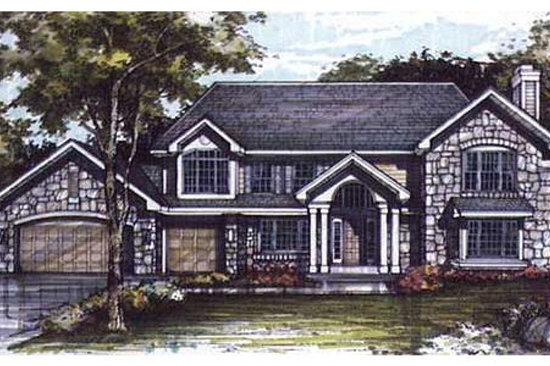 Bungalow Style House Plan - 4 Beds 2.5 Baths 3195 Sq/Ft Plan #320-299 Exterior - Front Elevation