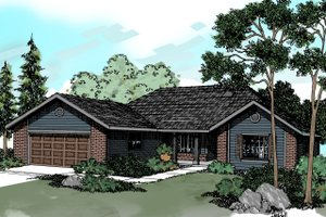 Ranch Exterior - Front Elevation Plan #124-295 - Houseplans.com