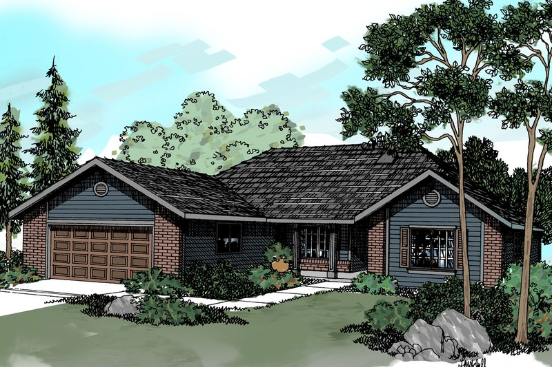 Ranch Exterior - Front Elevation Plan #124-295