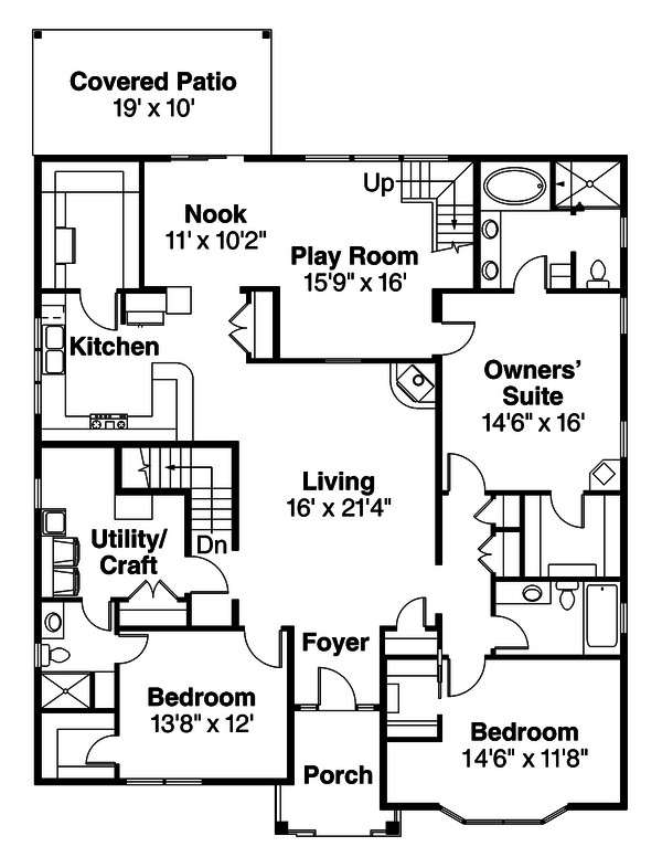 Craftsman Floor Plan - Main Floor Plan Plan #124-923