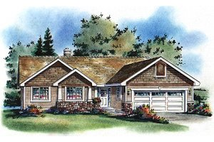 Architectural House Design - Craftsman Exterior - Front Elevation Plan #18-1017