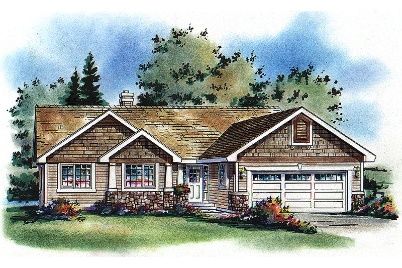 Craftsman Style House Plan - 2 Beds 2 Baths 1473 Sq/Ft Plan #18-1017 Exterior - Front Elevation