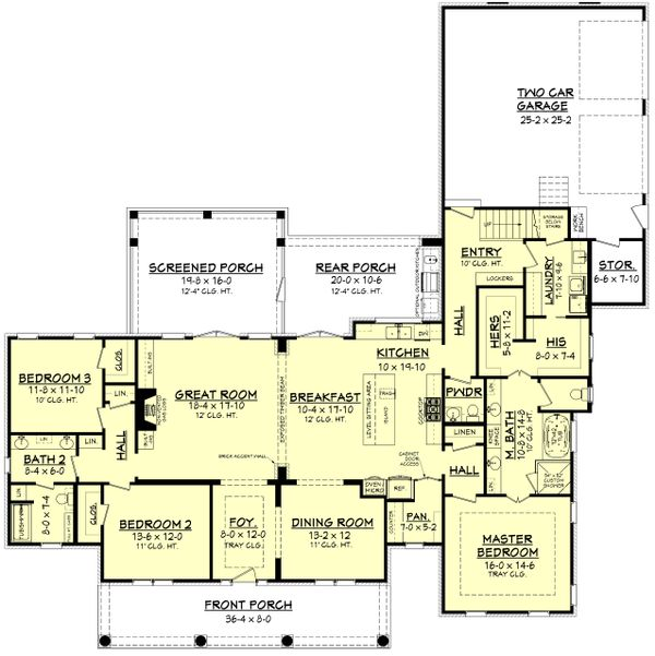 Country Style House Plan - 3 Beds 2.5 Baths 2566 Sq/Ft Plan #430-171 Floor Plan - Main Floor Plan