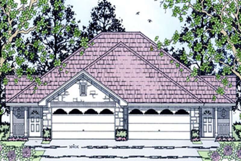 Country Style House Plan - 3 Beds 2 Baths 2630 Sq/Ft Plan #42-379 Exterior - Front Elevation