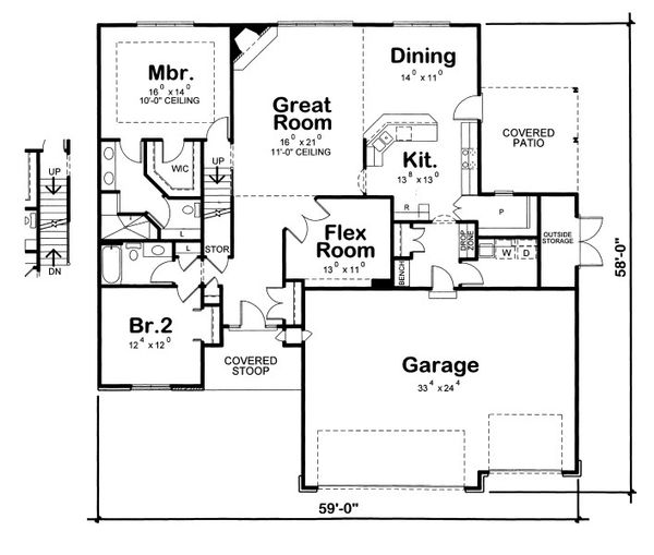 European Floor Plan - Main Floor Plan Plan #20-2073