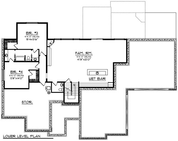 Ranch Floor Plan - Lower Floor Plan Plan #70-1502