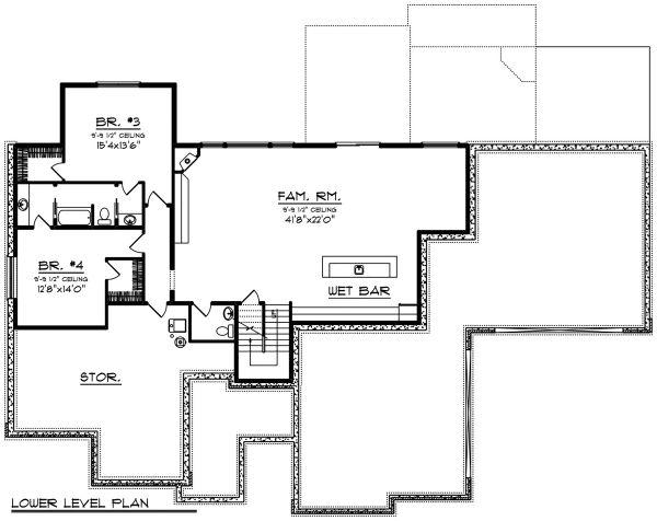 Dream House Plan - Ranch Floor Plan - Lower Floor Plan #70-1502