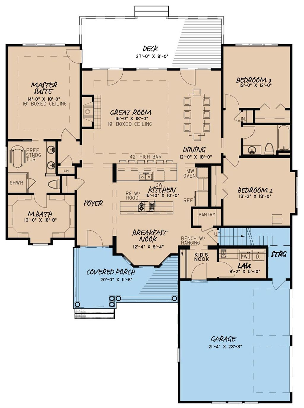 Country style house plan 3 beds 2 baths 2148 sq ft plan for Country style floor plans
