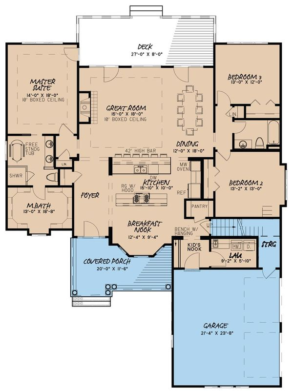 Country Floor Plan - Main Floor Plan #923-35